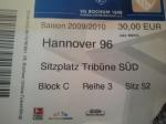 Eintrittskarte VfL - Hannover 96
